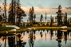 """""""Helgramite Lake Sunset"""" - Sunset photo taken while backpacking in the Long Lake are of Plumas National Forest."""