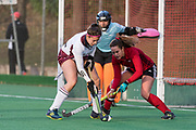Wimbledon's Libby Sherriff is tackled by Caity Wales of Southgate. Southgate v Wimbledon - Investec Women's Hockey League East Conference, Trent Park, London, UK on 25November 2017. Photo: Simon Parker