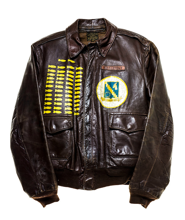 WWII flight jacket of Mr. A.B. Clement, who completed 50 missions as a B-24 top gunner.