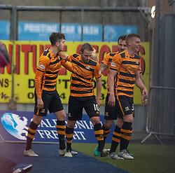 Alloa Athletic's Dario Zanatta oele scoring their goal. half time ; Falkirk 0 v 1 Alloa Athletic, Scottish Championship game played 6/4/2019 at The Falkirk Stadium.