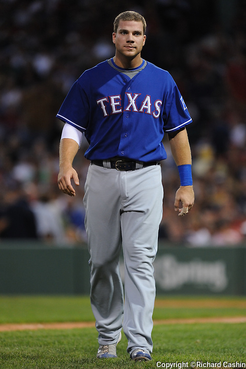 12 Aug 2008: Chris Davis of the Texas Rangers after the second inning. The Red Sox beat the Rangers 19-17 at Fenway Park, Boston MA.