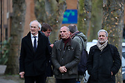 Assange's father John Shipton and former Greek Finance Minister Yanis Varoufakis leave Belmarsh Prison after visiting Julian Assange, in London, Britain on Sunday, Feb. 23, 2020. (Photo/Vudi Xhymshiti)