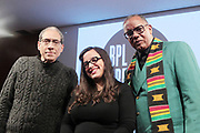 Brooklyn, New York, NY-February 8: (L-R) Author/Photographer Jamel Shabazz, Arts Educator/Photogrpaher  Noelle Flores Theard and Photographer/Author Jamel Shabazz attend Visually Speaking! The People's Photographer curated by Terrence Jennings for the Brooklyn Public Library on February 8, 2018 in the Brooklyn section of New York City.  The Visually Speaking! series is a platform for Photographers highlighting visually important photographic works. (Photo by Terrence Jennings/terrencejennings.com)