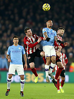 Manchester City's Gabriel Jesus competes with Sheffield United's John Fleck (left) and Oliver Norwood<br /> <br /> Photographer Rich Linley/CameraSport<br /> <br /> The Premier League - Sheffield United v Manchester City - Tuesday 21st January 2020 - Bramall Lane - Sheffield<br /> <br /> World Copyright © 2020 CameraSport. All rights reserved. 43 Linden Ave. Countesthorpe. Leicester. England. LE8 5PG - Tel: +44 (0) 116 277 4147 - admin@camerasport.com - www.camerasport.com