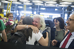 August 1, 2018 - Madrid, Spain - Lucia Mazarrasa receives a welcome hug by another activist for the rights of the Palestinians..Lucia Mazarrasa arrives in Madrid after being released from the Israeli army after trying to enter Gaza on the flotilla ship with other activists of other nationalities to send humanitarian aid to the Gaza Strip. (Credit Image: © Lito Lizana/SOPA Images via ZUMA Wire)