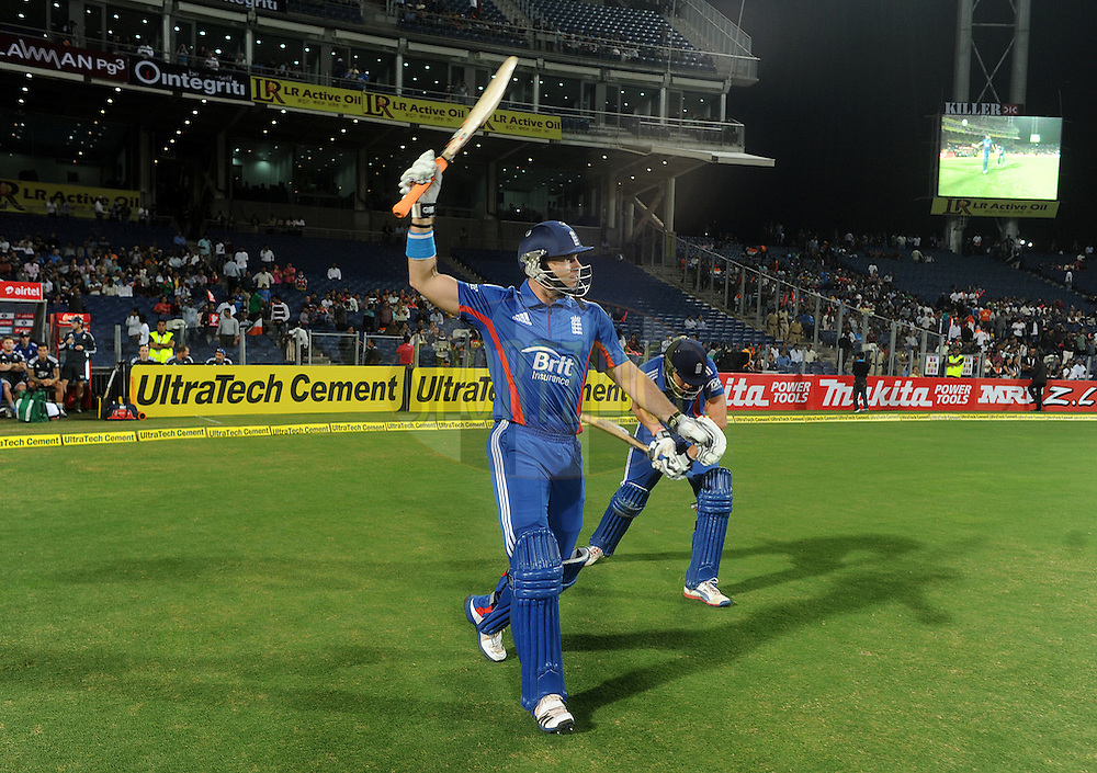Michael Lumb of England Alex Hales of England walk to bat during the first Airtel T20 Match between India and England held at Subrata Roy Sahara stadium in Pune on the  20th December 2012..Photo by  Pal Pillai/BCCI/SPORTZPICS .