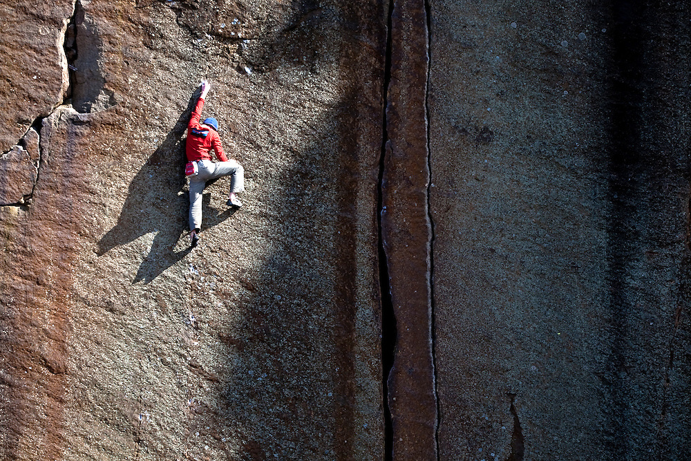 Pete Whittaker Climbing at Millstone Edge, near Sheffield, England