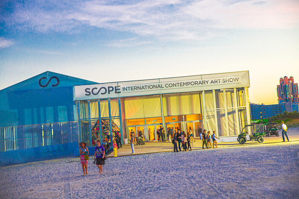 The Scope Art Show in a big, air-conditioned tent on the beach is one of the many so-called satellite fairs that popped up after the phenomenal success of Art Basel Miami Beach.