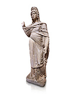 Roman statue of Julia Domina . Marble. Perge. 2nd century AD. Inv no 3268. Antalya Archaeology Museum; Turkey. Against a white background.<br /> <br /> Julia Domna (AD 160–217) was a Roman empress , the second wife of Septimius Severus (reigned 193–211). .<br /> <br /> If you prefer to buy from our ALAMY STOCK LIBRARY page at https://www.alamy.com/portfolio/paul-williams-funkystock/greco-roman-sculptures.html . Type -    Antalya     - into LOWER SEARCH WITHIN GALLERY box - Refine search by adding a subject, place, background colour, museum etc.<br /> <br /> Visit our ROMAN WORLD PHOTO COLLECTIONS for more photos to download or buy as wall art prints https://funkystock.photoshelter.com/gallery-collection/The-Romans-Art-Artefacts-Antiquities-Historic-Sites-Pictures-Images/C0000r2uLJJo9_s0