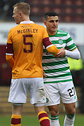 Nathan McGinley (Motherwell) Mohamed Elyounoussi (Celtic) tightly at a corner marks during the Scottish Premiership match between Motherwell and Celtic at Fir Park, Motherwell, Scotland on 8 November 2020.