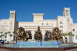 Elaborate statues of horses at entrance to luxury Al Qasr hotel in Madinat Jumairah resort complex in Dubai in United Arab Emirates