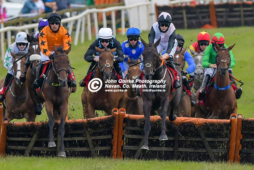 ' Say Goodbye' and Rachael Blackmore (pink and blask hat) jumping the last hurdle in 'The Bar One Racing `30 Euro Free Bet New Account Offer` Mares Maiden Hurdle' at Bellewstown Races.<br /> <br /> Photo: GERRY SHANAHAN-WWW.QUIRKE.IE<br /> <br /> 03-07-2021
