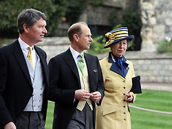 (left to right) Timothy Laurence, The Earl of Wessex and The Princess Royal arrive ahead of the wedding of Lady Gabriella Windsor and Thomas Kingston at St George's Chapel in Windsor Castle.