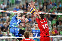 Alen Pajenk of Slovenia vs Simon Van de Voorde of Belgium during volleyball match between National teams of Slovenia and Belgium in 2nd Round of 2018 FIVB Volleyball Men's World Championship qualification, on May 28, 2017 in Arena Stozice, Ljubljana, Slovenia. Photo by Morgan Kristan / Sportida