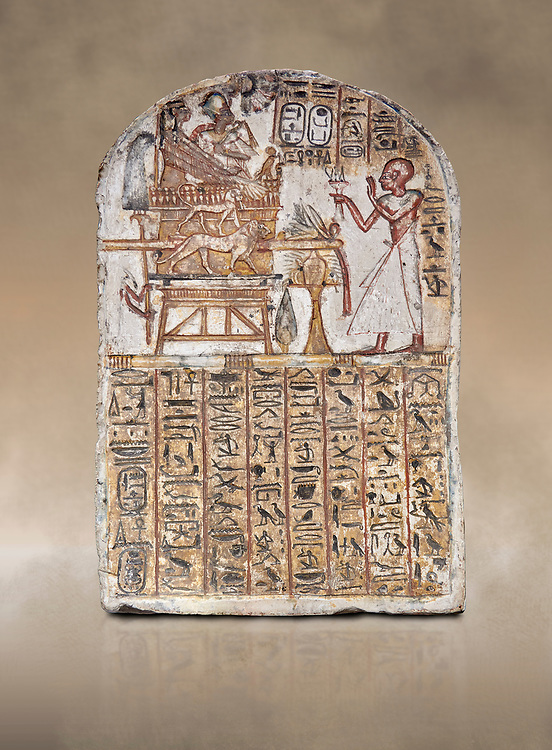 Ancient Egyptian Stele of Amenemope dedicated to Amenhotep I and Ahmose-Nefertari, limestone, New Kingdom, 19th Dynasty, (1279-1213 BC), Deir el-Medina, Drovetti cat 1452. Egyptian Museum, Turin. .<br /> <br /> If you prefer to buy from our ALAMY PHOTO LIBRARY  Collection visit : https://www.alamy.com/portfolio/paul-williams-funkystock/ancient-egyptian-art-artefacts.html  . Type -   Turin   - into the LOWER SEARCH WITHIN GALLERY box. Refine search by adding background colour, subject etc<br /> <br /> Visit our ANCIENT WORLD PHOTO COLLECTIONS for more photos to download or buy as wall art prints https://funkystock.photoshelter.com/gallery-collection/Ancient-World-Art-Antiquities-Historic-Sites-Pictures-Images-of/C00006u26yqSkDOM