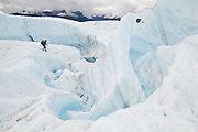 Liana Welty navigates a meltwater canyon on the dynamic surface of the Root Glacier, Wrangell-St. Elias National Park, Alaska.