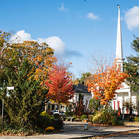 Woodstock Village Green and Old Dutch Church with Halloween Decorations