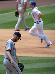 June 7, 2017 - Los Angeles, California, U.S. - Los Angeles Dodgers' Corey Seager (5) rounds third base after hitting a solo home run as Washington Nationals starting pitcher Stephen Strasburg looks toward the ground in the sixth inning of a Major League baseball game at Dodger Stadium on Wednesday, June 7, 2017 in Los Angeles. Los Angeles Dodgers won 2-1. (Photo by Keith Birmingham, Pasadena Star-News/SCNG) (Credit Image: © San Gabriel Valley Tribune via ZUMA Wire)