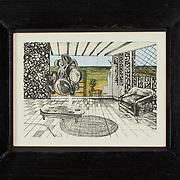 "Title: A Better View<br /> Artist: Samantha Evans<br /> Date: 2011<br /> Medium: Lithograph<br /> Dimensions: 11.5 x 9.5""<br /> Instructor:<br /> Status: On Display<br /> Location: Art & Digital Media Office Suite<br /> Highland Campus HLC4 Bldg 4000, Room 2110"