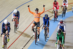 March 2, 2018 - Apeldoorn, Netherlands - Gold medal winner Netherland's Kirsten Wild celebrates during the women's omnium during the UCI Track Cycling World Championships in Apeldoorn on March 2, 2018. (Credit Image: © Foto Olimpik/NurPhoto via ZUMA Press)