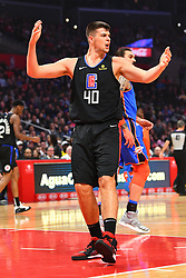 March 8, 2019 - Los Angeles, CA, U.S. - LOS ANGELES, CA - MARCH 08: Los Angeles Clippers Center Ivica Zubac (40) reacts to a foul call during a NBA game between the Oklahoma City Thunder and the Los Angeles Clippers on March 8, 2019 at STAPLES Center in Los Angeles, CA. (Photo by Brian Rothmuller/Icon Sportswire) (Credit Image: © Brian Rothmuller/Icon SMI via ZUMA Press)