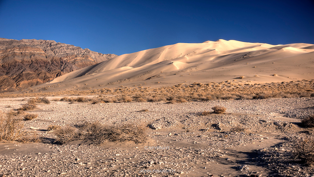 A view of the Eureka Dunes late in the day
