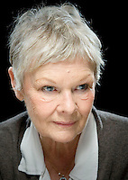 photo ©Tom Wagner 2006.Portrait of Dame Judi Dench, the famous and award winning british actress, star of theatre and movies, including Mrs Brown, Mrs Henderson Presents, the role of 'M' in James Bond, and her new movie Notes on a Scandal with cate Blanchett..This image is copyrighted and may not be used in any way without a written usage rights agreement with Tom Wagner, photographer; for assigned work, usage rights agreement is included on invoices, and rights are granted when payment is received. Only usage rights specifically included in a usage agreement are granted: any misuse of this image is a breach of copyright..www.tomwagnerphoto.com© Copyright Tom Wagner 2006 phone UK+44.20-8463-9211 All moral rights asserted..©Copyright 2006 Tom Wagner phone US+1.773.274.3217.www.tomwagnerphoto.com