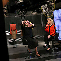 Miri Beillin, an ultra orthodox Jewish stylist and fashion designer, during shooting for a tv show for the new israeli fashion show.