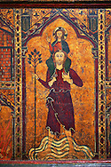 Gothic painted Altar frontal of Saint Christopher by Master of Soriguerola. Tempera and varnished metal plate on wood. Beginning of 14th century. 134 x 193 x 8.3 cm. The traditional hypothesis is that it could have come from the parish church of Sant Cristòfol de Toses (Ripollès), as the titular saint coincides with the church's dedication.. National Museum of Catalan Art, inv no: 015825-000 .<br /> <br /> If you prefer you can also buy from our ALAMY PHOTO LIBRARY  Collection visit : https://www.alamy.com/portfolio/paul-williams-funkystock/romanesque-art-antiquities.html<br /> Type -     MNAC     - into the LOWER SEARCH WITHIN GALLERY box. Refine search by adding background colour, place, subject etc<br /> <br /> Visit our ROMANESQUE ART PHOTO COLLECTION for more   photos  to download or buy as prints https://funkystock.photoshelter.com/gallery-collection/Medieval-Romanesque-Art-Antiquities-Historic-Sites-Pictures-Images-of/C0000uYGQT94tY_Y