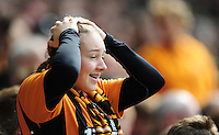 A Hull City fan reacts after Hull City's Ahmed Elmohamady had a goal ruled out<br /> <br /> Photographer Chris Vaughan/CameraSport<br /> <br /> Football - Barclays Premiership - Hull City v Manchester United - Sunday 24th May 2015 - Kingston Communications Stadium - Hull<br /> <br /> © CameraSport - 43 Linden Ave. Countesthorpe. Leicester. England. LE8 5PG - Tel: +44 (0) 116 277 4147 - admin@camerasport.com - www.camerasport.com