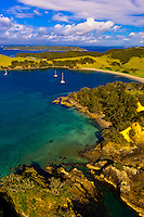 Aerial view of a serene cove in Waikare Inlet, the Bay of Islands in the Northland region of the north island of New Zealand.