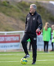 Målmandstræner Rade Vucurevic (FC Helsingør) under kampen i 1. Division mellem FC Helsingør og Skive IK den 18. oktober 2020 på Helsingør Stadion (Foto: Claus Birch).
