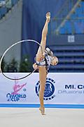 Davidova Valeriya during qualifying at hoop in Pesaro World Cup at Adriatic Arena on April 26, 2013. Valeriya was born December 15, 1997 in Tashkent,Uzbekistan. She is an Uzbek individual rhythmic gymnast.