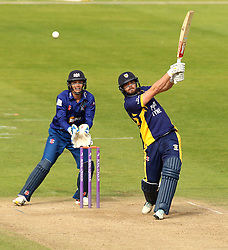 Durham's John Hastings plays over the top - Mandatory by-line: Robbie Stephenson/JMP - 07966386802 - 04/08/2015 - SPORT - CRICKET - Bristol,England - County Ground - Gloucestershire v Durham - Royal London One-Day Cup