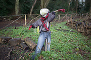 Scarecrow in allotments in Highgate Park in Birmingham, England, United Kingdom.