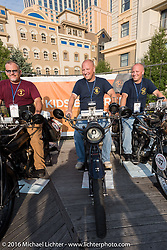 A trio 1916 Indians! Steve Rinker of West Virginia on his bike alongside his sons Justin Rinker of Illinois and his identical twin brother Jared Rinker on the Atlantic City boardwalk at the start of the Motorcycle Cannonball Race of the Century. Stage-1 from Atlantic City, NJ to York, PA. USA. Saturday September 10, 2016. Photography ©2016 Michael Lichter.