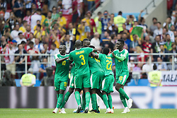 June 19, 2018 - Moscow - Senegal players celebrate scoring during the 2018 FIFA World Cup Group H match between Poland and Senegal at Spartak Stadium in Moscow, Russia on June 19, 2018  (Credit Image: © Andrew Surma/NurPhoto via ZUMA Press)