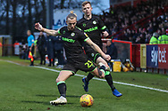 Forest Green Rovers Joseph Mills(23) passes the ball forward during the EFL Sky Bet League 2 match between Stevenage and Forest Green Rovers at the Lamex Stadium, Stevenage, England on 26 January 2019.