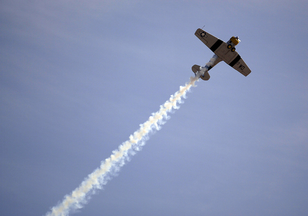 SAN DIEGO, CA - OCTOBER 15, 2004:  A WWII era AT-6 Texan performs at the Miramar Air Show on October 15, 2004, in San Diego, CA. (Photo by Todd Bigelow/Aurora)