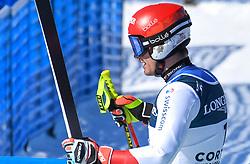 15.02.2021, Cortina, ITA, FIS Weltmeisterschaften Ski Alpin, Alpine Kombination, Herren, Super G, im Bild Loic Meillard (SUI) // Loic Meillard of Switzerland reacts after the Super G competition for the men's alpine combined of FIS Alpine Ski World Championships 2021 in Cortina, Italy on 2021/02/15. EXPA Pictures © 2021, PhotoCredit: EXPA/ Erich Spiess