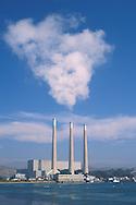 Morro Bay electric power plant smoke stacks at Morro Bay harbor, San Luis Obispo County coast, California