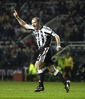 Photo. Glyn Thomas., Digitalsport<br /> Newcastle United v Vålerenga IF.<br /> UEFA Cup Third Round Second Leg.<br /> St James' Park, Newcastle. 03/03/2004.<br /> Alan Shearer (R) celebrates putting Newcastle a goal up in the first half