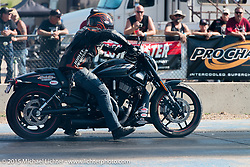 Drag racing at the Sturgis Dragway during the 75th Annual Sturgis Black Hills Motorcycle Rally.  SD, USA.  August 2, 2015.  Photography ©2015 Michael Lichter.