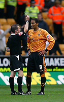 Photo: Steve Bond.<br />Wolverhampton Wanderers v Coventry City. Coca Cola Championship. 06/10/2007.  Karl henry is added to Keith Stroud's book