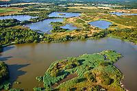 France, Indre (36), le Berry, parc naturel régional de la Brenne, Mezieires en Brenne, vue aérienne des étangs // France, Indre (36), le Berry, Brenne, natural park, aerial view of the ponds, Mezières en brenne