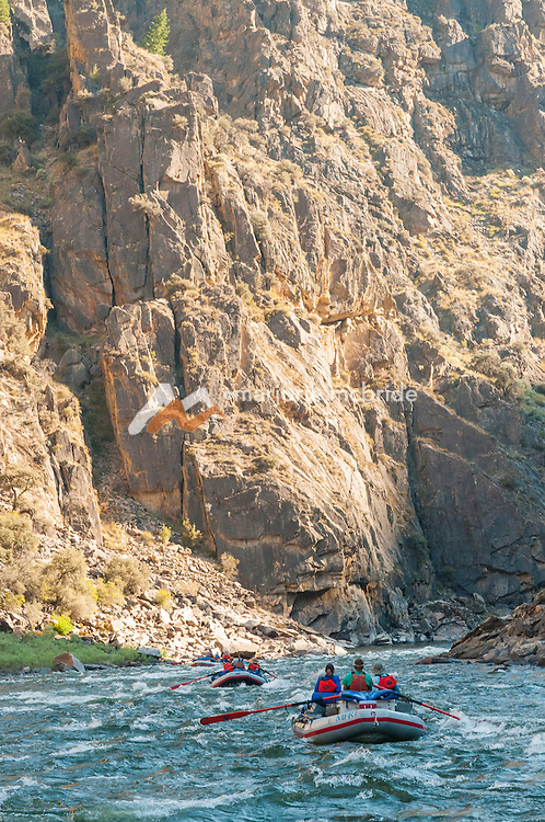 Massive canyon walls in The Impassible Canyon on the Middle Fork of the Salmon River during six day rafting vacation, Idaho.