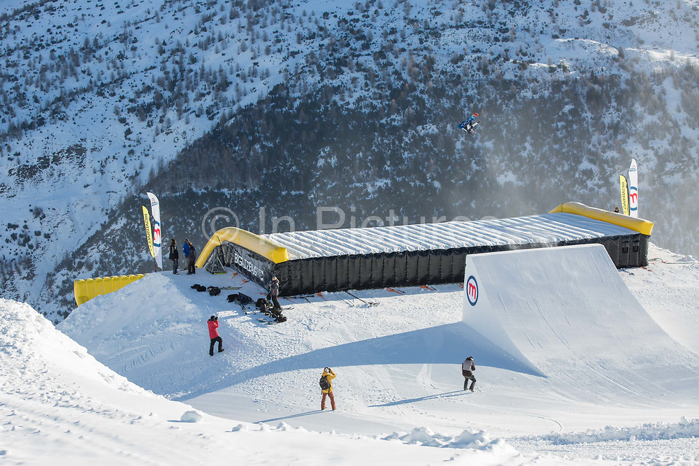 Great British freestyle Snowboarder Katie Ormerod from GB Park & Pipe, the freestyle Ski and Snowboard Olympic development team, at their brand new winter training facility in Mottolino Snow Park on 7th December 2017 in Livingo, Italy. The Big Air Bag is the first of its kind and has been developed by the GB Park & Pipe's Hamish McKnight and Lesley McKenna. The air bag was built by BigAirBag company from Holland.