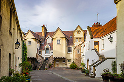 View of White Horse Close in Edinburgh an old courtyard lined with houses, Scotland, United Kingdom,
