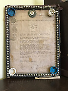 Auto union workers certificate framed and decorated with beads and pill bottle tops- 8x11 in<br />