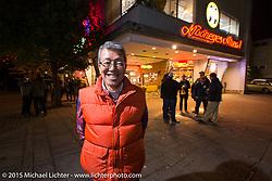 Mooneyes owner Shige Suganuma outside the Moon Cafe during the Mooneyes Yokohama Hot Rod & Custom Show after-party at Mooneyes headquarters. Yokohama, Japan. December 7, 2015.  Photography ©2015 Michael Lichter.
